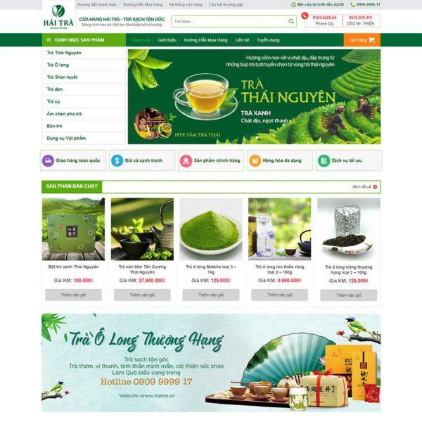 Mẫu web bán bột trà xanh