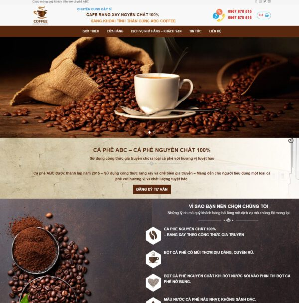 Mẫu web bán cà phê 2