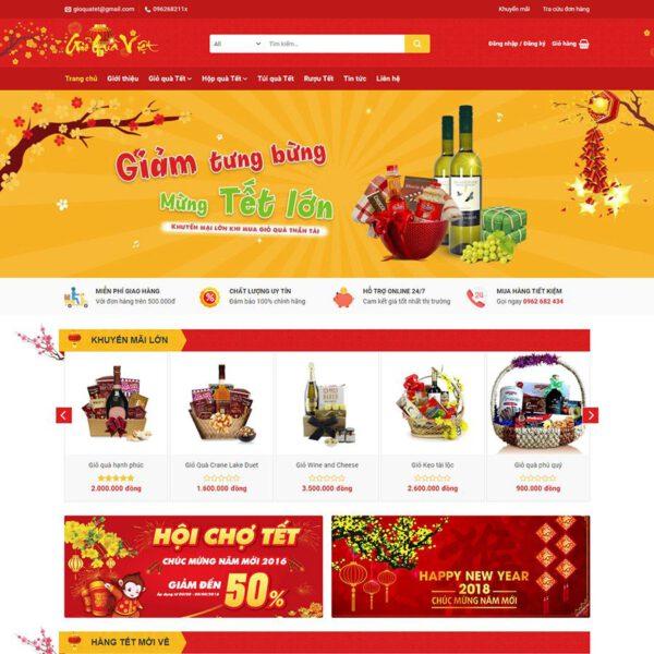 Mẫu web bán quà tết - giới thiệu sản phẩm