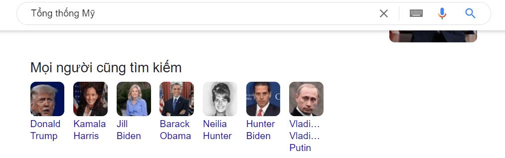 Các kết quả mà thực thể khác liên quan đến tổng thống Mỹ