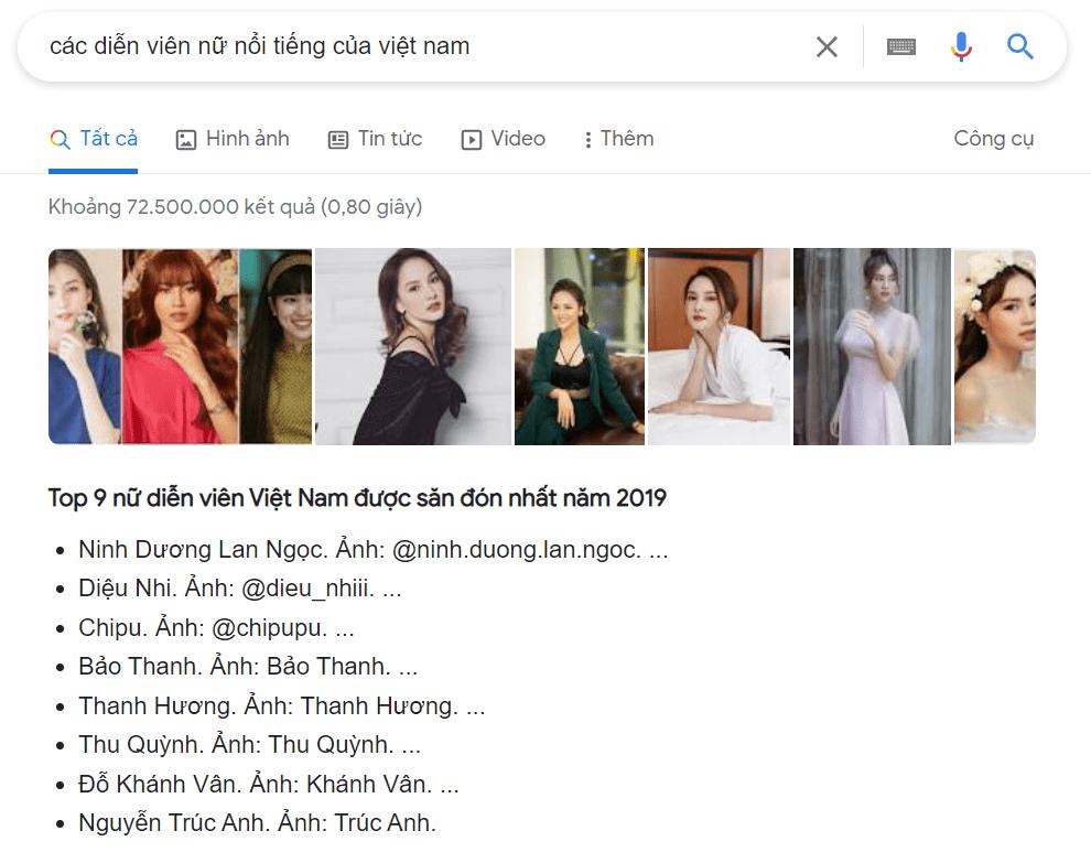 các nữ diễn viên nổi tiếng ở Việt Nam