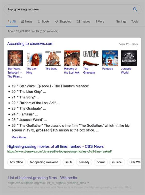 Loại Featured Snippets dạng thứ tự